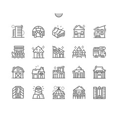types of homes thin line icons vector image
