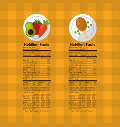 Vegetables and roasted chicken nutrition facts vector
