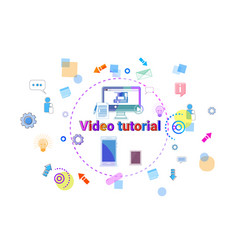 Video tutorial learn online banner internet vector