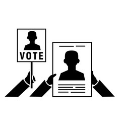 vote hand banner icon simple style vector image