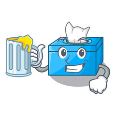 With juice cartoon tissue box on a sideboard vector