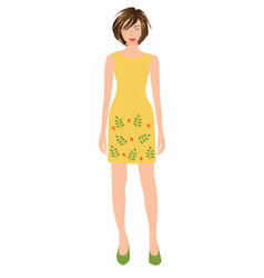 woman wearing yellow dress vector image
