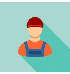 Worker Flat Long Shadow Square Icon vector
