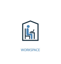 workspace concept 2 colored icon simple blue vector image