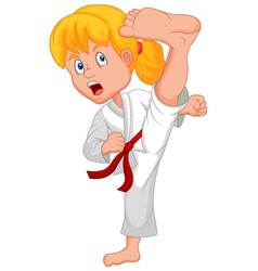 Young girl training karate vector