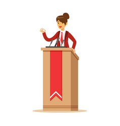 Young politician woman speaking behind the podium vector