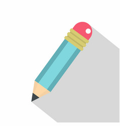 blue sharpened pencil with eraser icon flat style vector image vector image