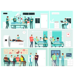 hospital interiors with patients doctors nurse vector image