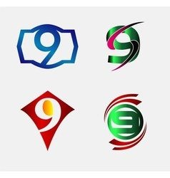 Number nine 9 logo icon set collection vector image vector image