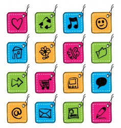 square tag icons vector image vector image