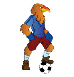 humanoid eagle playing soccer vector image vector image
