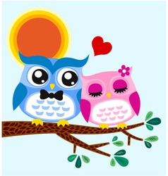 owl in love vector image vector image