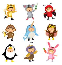 set of cute kids wearing animal costumes vector image