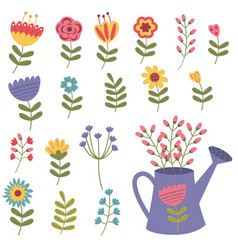 set of isolated flower vector image