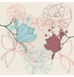 valentine heart in floral style isolated vector image vector image