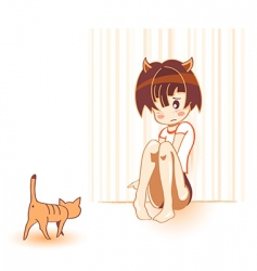 cat and girl vector image vector image