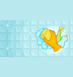 cleaning horizontal banner wall cartoon style vector image