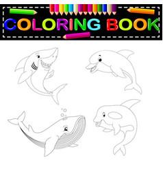 fish coloring book vector image