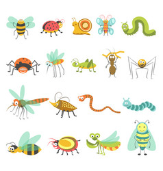 funny cartoon insects and bugs isolated vector image vector image