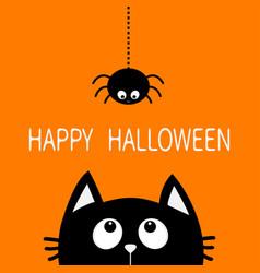 happy halloween black cat face head silhouette vector image vector image