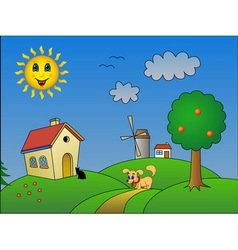 Landscape with happy sun vector image