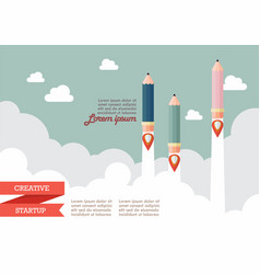 startup with pencil rockets vector image vector image