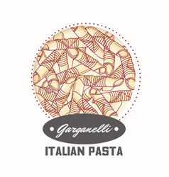 sticker with hand drawn pasta garganelli vector image vector image