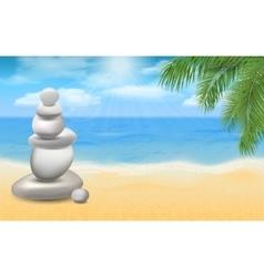 balanced stones on sea beach with palm trees vector image