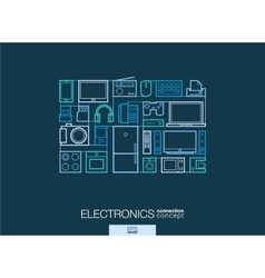Electronics integrated thin line symbols Modern vector image vector image