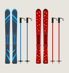 Set of ski and ski sticks - winter equipment - vector