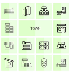 14 town icons vector