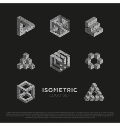 3d Isometric Logo Set vector image