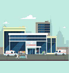 Accident and emergency hospital exterior with vector
