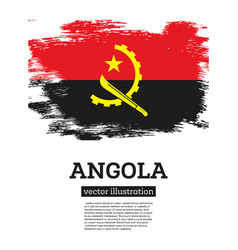 Angola flag with brush strokes independence day vector