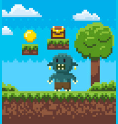 Angry troll on grass nature pixel game vector