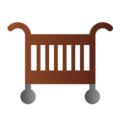 baby crib flat icon baby cradle bed color icons vector image
