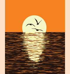Background of sea and evening sunset vector