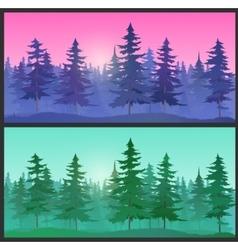 Beautiful Landscape spruce trees vector image