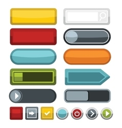 Blank color web buttons icons set flat style vector