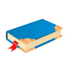 Blue book with golden corners vintage design vector