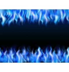 Blue fire tileable borders vector