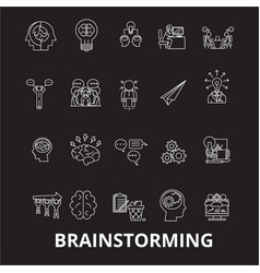 brainstorm editable line icons set on black vector image