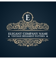 Calligraphic ornate logo emblem elegant decor vector