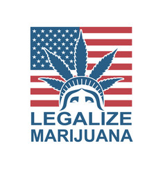Cannabis leaf on statue of liberty vector
