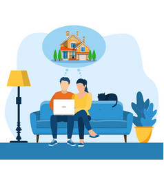 Cartoon couple dreaming home vector