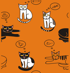 cats think about fish sausage mouse bird bowl vector image
