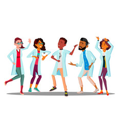 celebrating doctor s day dancing group of happy vector image