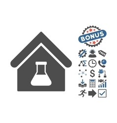 Chemical Labs Building Flat Icon With Bonus vector