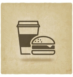 coffee and burger fast food old background vector image