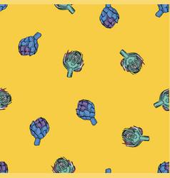 Coloured artichoke seamless yellow pattern vector